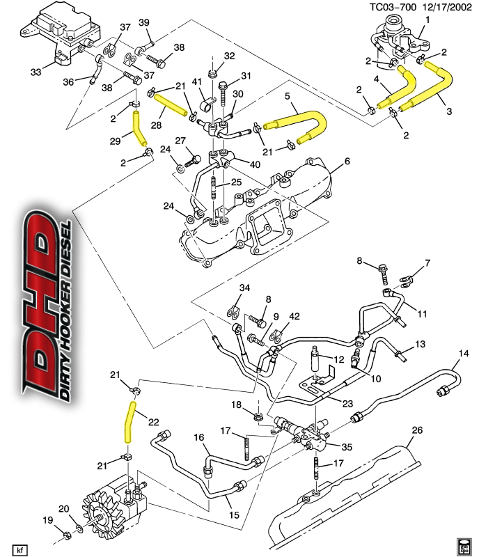 dhd 700 011 lb7 duramax low pressure oem fuel line kit lml duramax fuel system schematic leak coming from a low pressure hose