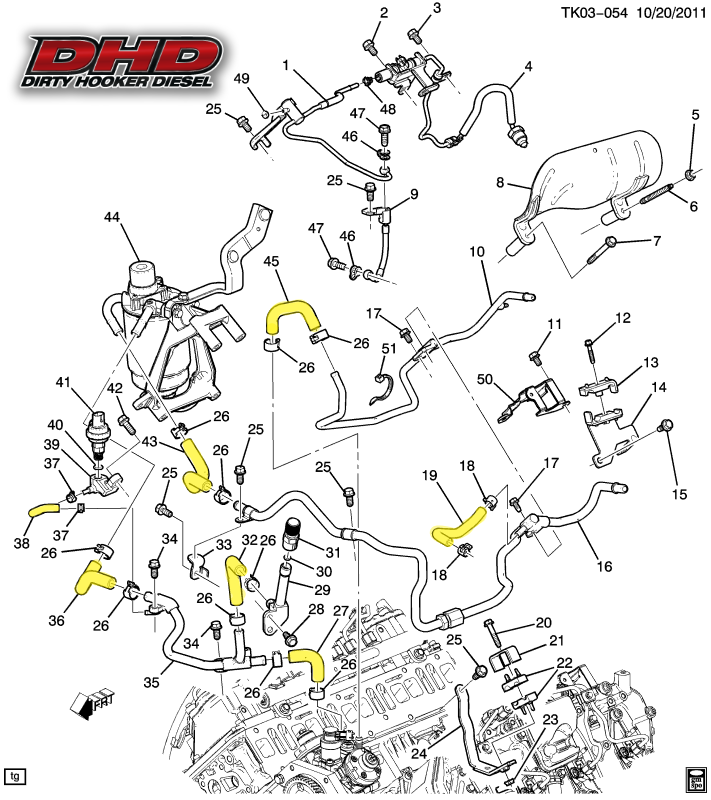 DHD 700-014 LML Duramax Low Pressure OEM Fuel Line Kit | 2015 Duramax Engine Diagram |  | Dirty Hooker Diesel