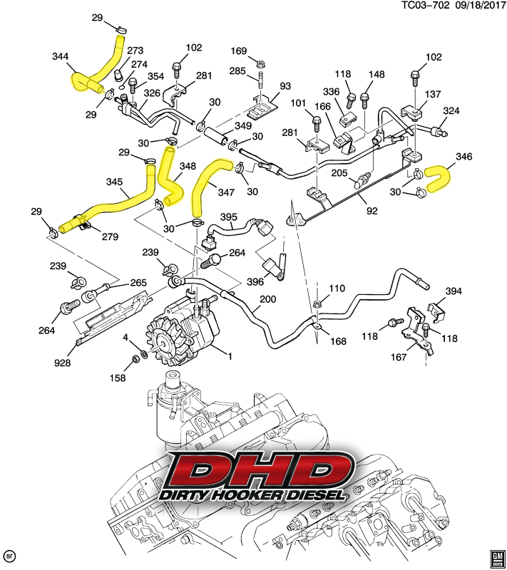 dhd 700 015 lly duramax low pressure oem fuel line kit lb7 duramax fuel system schematic 14 best duramax engine diagrams images