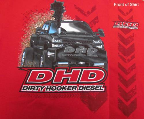 "Dirty Hooker Diesel - DHD 061-015T Red DHD ""Pulling Truck"" T-Shirt"