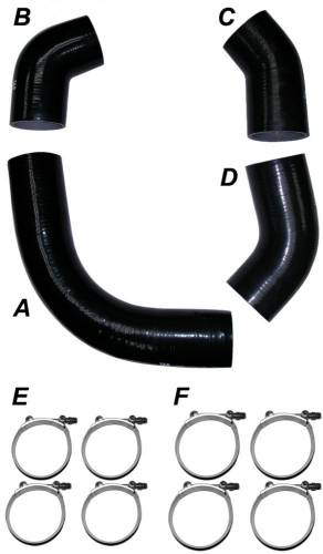 PPE - PPE 115910101 Silicone Hose Kit with Stainless Steel Clamps - GM 2001 LB7