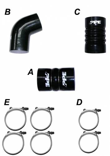 PPE - PPE 115910610 Silicone Hose Kit with Stainless Steel Clamps - GM 2006-2010