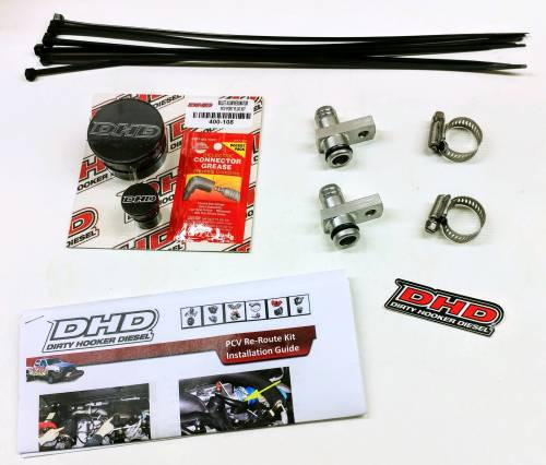 Dirty Hooker Diesel - DHD 007-7100 Deluxe PCV Reroute Kit With Billet Resonator Plug