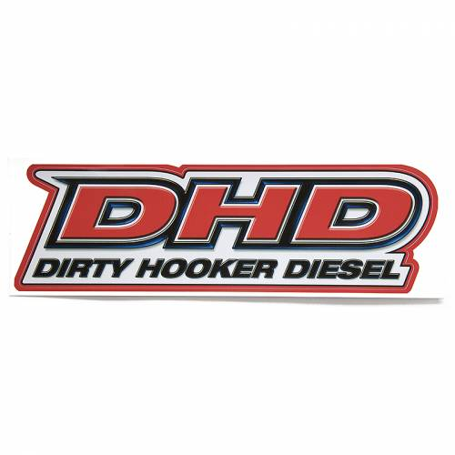 Dirty Hooker Diesel - DHD 061-007 Red DHD on White Back Rear Window Sticker OUT OF STOCK