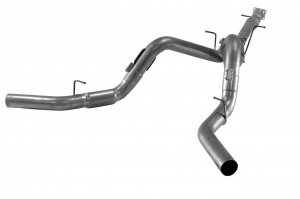 """Exhaust System - Flo Pro - Flo Pro 761 GM LML 4"""" Cat Back Dual DPF DPF Delete W/ Flanged Connection NM NB Aluminized"""